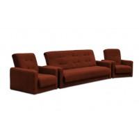 Диван и два кресла Милан коричневый